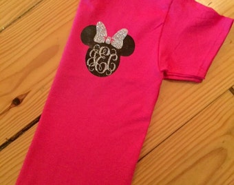 Womens front and back disney monogram shirt with castle on back!