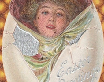 antique easter postcard pretty woman in broken egg