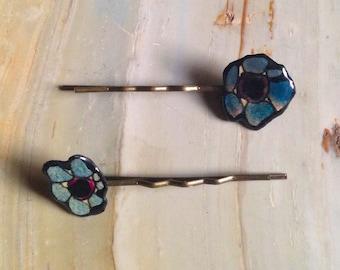 Flower Hair Pins - Teal + Plum