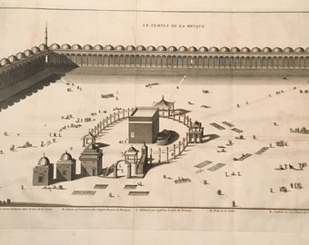 Rare 18th Century Engraving of the Kaaba and Grand Mosque in Mecca, Original Antique Copperplate by Bernard Picart