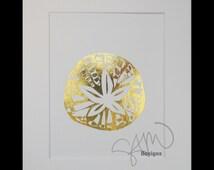 Sand Dollar Shiny Metallic Gold Foil Print 8x10
