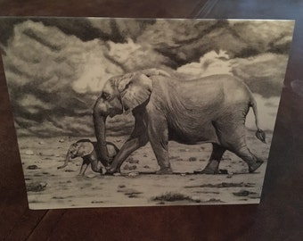 Fine Art blank postcards pack of 8- 'Mother and Baby'