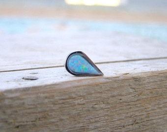 Tragus Earring ,Opal  Drop Cartilage Earring , Helix Earring , Opal 16ga Stud , Helix Piercing , Single