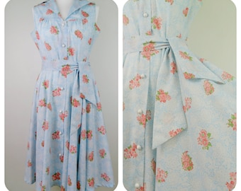 1950s blue and pink floral summer swing rockabilly dress size 12