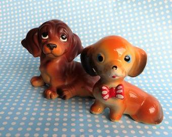 Dachshund/weiner dog china figurines from 1960s
