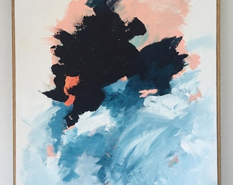 Modern Abstract Art - navy and pink