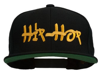 Hip Hop Music Embroidered Snapback Flat Bill Cap
