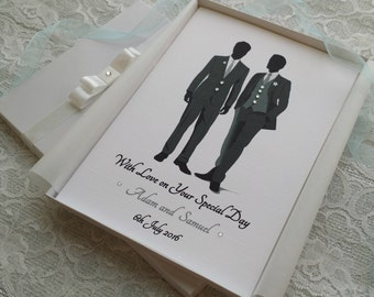 Gay Wedding Day Mr &Mr Congratulations Card Handmade Personalised Keepsake from Parents Grandparents Friends Boxed or Envelope Couple