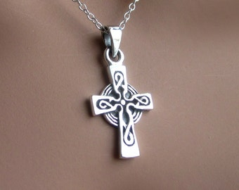 Sterling Silver Celtic Cross Pendant Charm Womens Jewelry Gift Religious Symbolic Christian