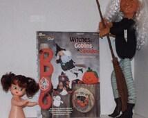 "Witches Goblins Spooks Crochet Pattern, Fibre Craft Tilda Witch & 5-1/2"" Air Freshener Doll Halloween Doll Set"