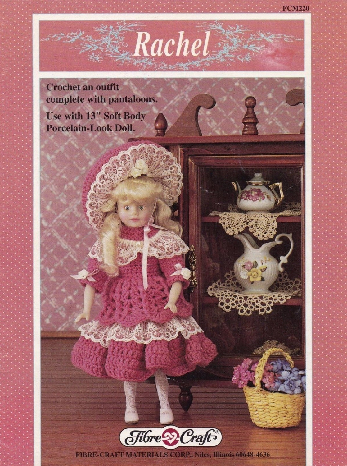Rachel fibre craft 13 in porcelain doll clothes crochet for Fibre craft 18 inch doll