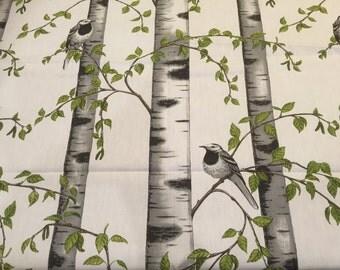 Tablecloth birch, birds, leaves, Scandinavian design