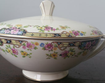 Vintage Edwin Knowles White Soup Tureen With Floral Pattern