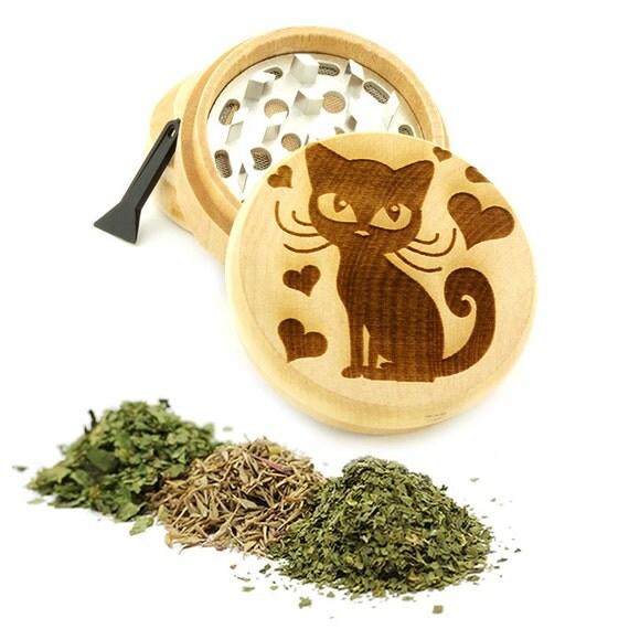 Lovely Cat Engraved Premium Natural Wooden Grinder Item # PW61716-25
