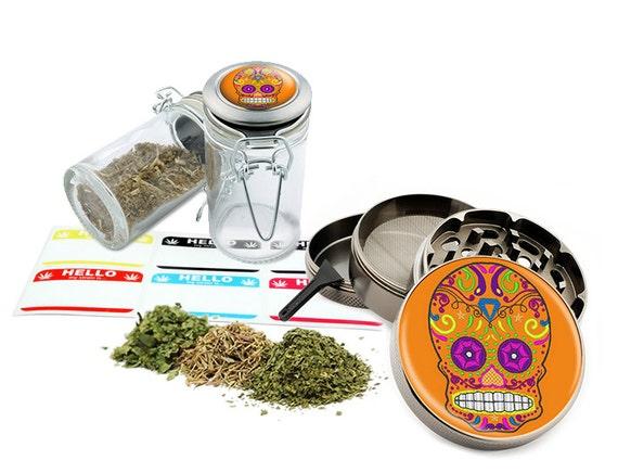 "Sugar Skull - 2.5"" Zinc Alloy Grinder & 75ml Locking Top Glass Jar Combo Gift Set Item # G021615-034"