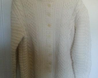 Hand knit aran cardigan