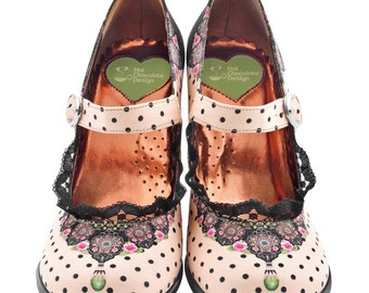 "Hot Chocolate Doubble Topping High Heels Vintage Shoes ""DORIS"""