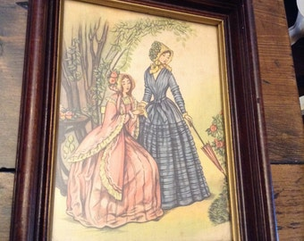 Victorian Style Fashion Plates Printed on Canvas (A054)
