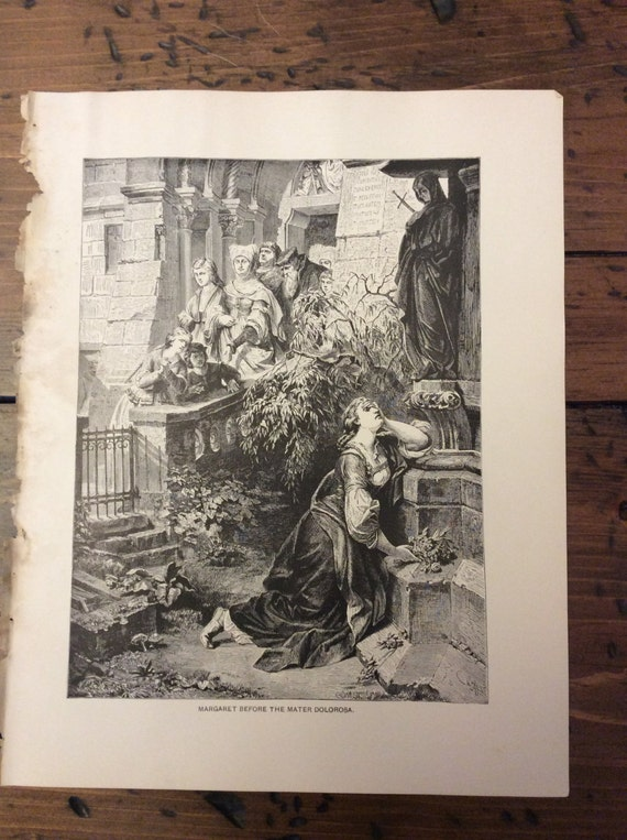 Antique Print - Wood Engraving, Faust by Goethe, Margaret before Mater Dolorosa, 1892 Book Page (B034)