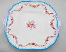 Antique Minton hand painted enamel rose wreath turquoise square tab handle cake plate