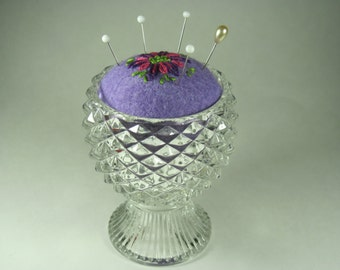 Pin Cushion in Footed Glass Vase