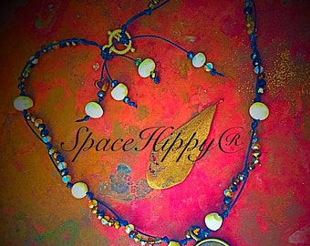SpaceHippy® Om Choker, sea pearls mixed with fall-colored crystals.