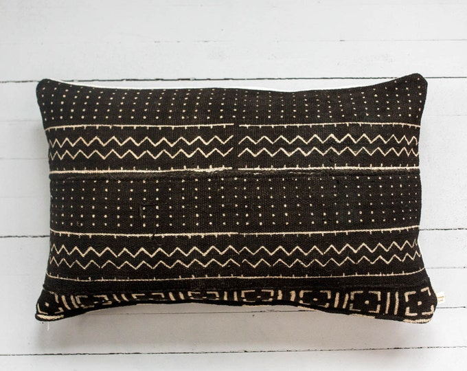 "Awa: Vintage African Mud Cloth lumbar pillow 16"" x 26"""