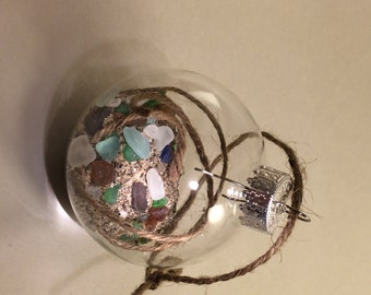 Clear plastic 60 mm Ornaments filled with Lake Erie sand and assorted, multi-colored, handpicked authentic beach glass