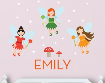 Fairies Wall Decal, Fairy Decal, Fairy Wall Decal, Fairy nursery, Fairy Decal, Fairy Wall Stickers, Custom Name Decal, Personalized Decal