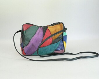 Small Color Block Patchwork Leather Cross Body Shoulder Swing Bag
