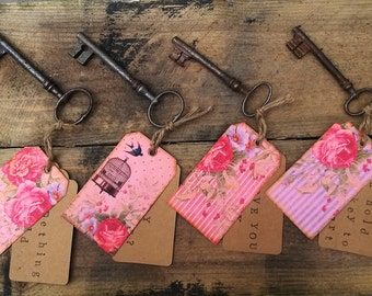 Rustic key with vintage style label with personalised message