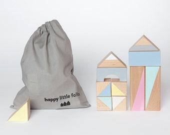 24 wooden blocks in Summer brights packed in cotton bag - Wooden toys - Toddler gift - Building blocks - Toddler toys - Handmade blocks