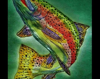 RAINBOW TROUT River Lake Stream Fish Fishing Wildlife Nature Cabin Lodge Home Decor Print By Scott D Van Osdol 11x17 Poster Of My Original