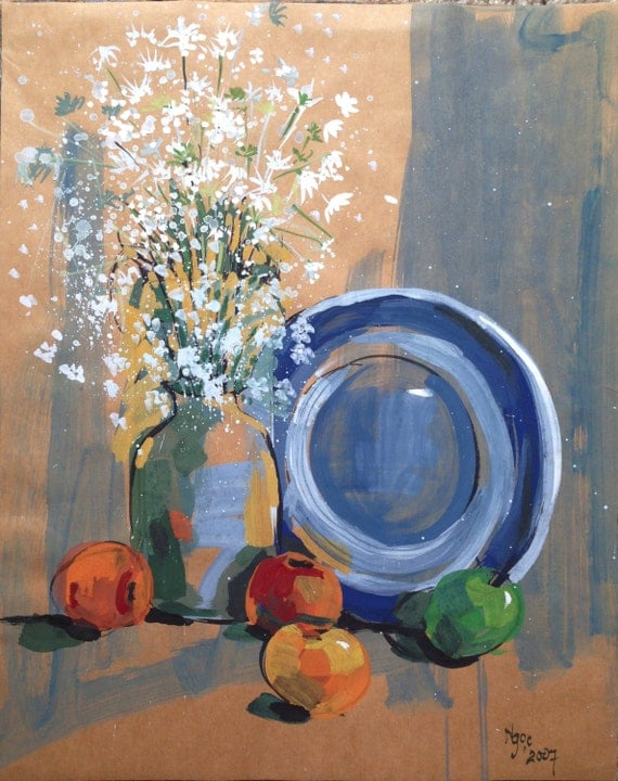 "STILL LIFE BOUQUET 16x20"" gouache on paper, flowers, floral wall decor, original painting by Nguyen Ly Phuong Ngoc"