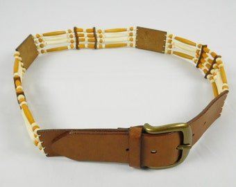 Ladies Leather Strappy Boho Retro Belt Gold White Moroccan India Beads Medium Brass Buckle Hippie Chic