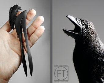 Wood Hair Stick - Hairfork  Raven  Crow Sculpture Hairpin  Hairstick Wood Sculpture  Barrette Black bird  Gothic  Hair Accessories hair fork
