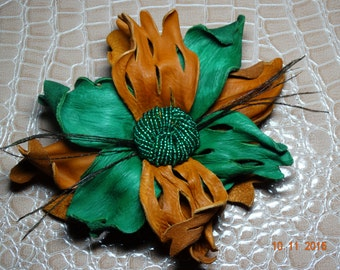 Leather flower, felt brooch