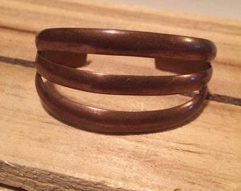 Vintage Copper Cuff Bracelet Modernist Midcentury 3 Band Solid Copper