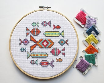 School of Fish - Modern counted cross stitch pattern - Instant download PDF