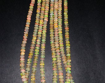 Ethiopian Opal Smooth Roundel Beads 4.5mm size, 16 Inch Strand, Superb Quality,