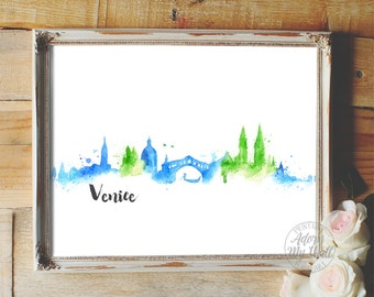 Cityscape, Venice, skyline, Italy, watercolour, painting, wall art poster, watercolor, venice cityscape, 8x10
