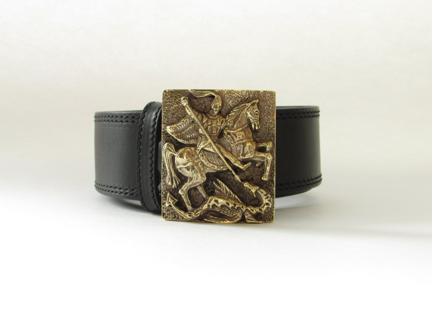 belt buckle george leather belt with brass buckle