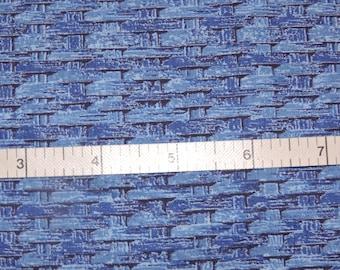 Hoffman Fabrics-Royal Blue-Quilt/Craft Fabric - Basket Weave -  Vintage -  1/2 Yd