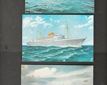 3 Ocean Liners Postcards , Ships of the Norvegian American and  Cunard  Line