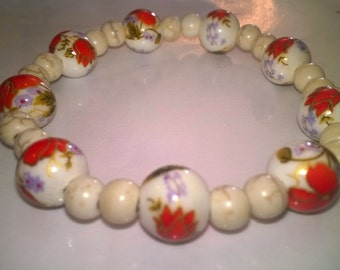 Lampwork beads elastic bracelet