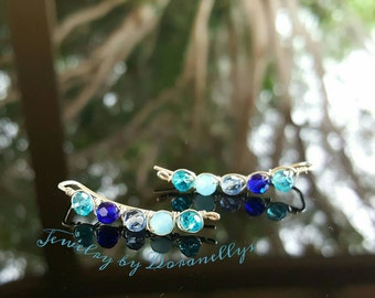 Sale! Boho style earrings, Argentium silver, ear crawlers, ear climbers, tarnish resistant, blue colors