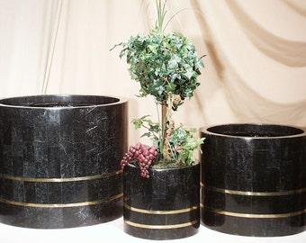 Round Black Stone Smooth Planter with Brass
