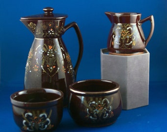 Vintage 4 Piece Redware Hand Painted Hot Chocolate Set Made in Japan