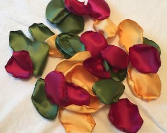 Satin Rose Petals/Wine Rose Petals/Gold Petals/Autumn Wedding Decor/Fall Wedding Deor/Autumn Flower Girl/Rose Petals/Aisle Petals/Petals