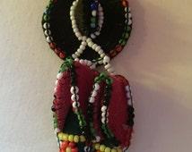 Vintage Native American Beaded Moccasin & Sombrero Brooch